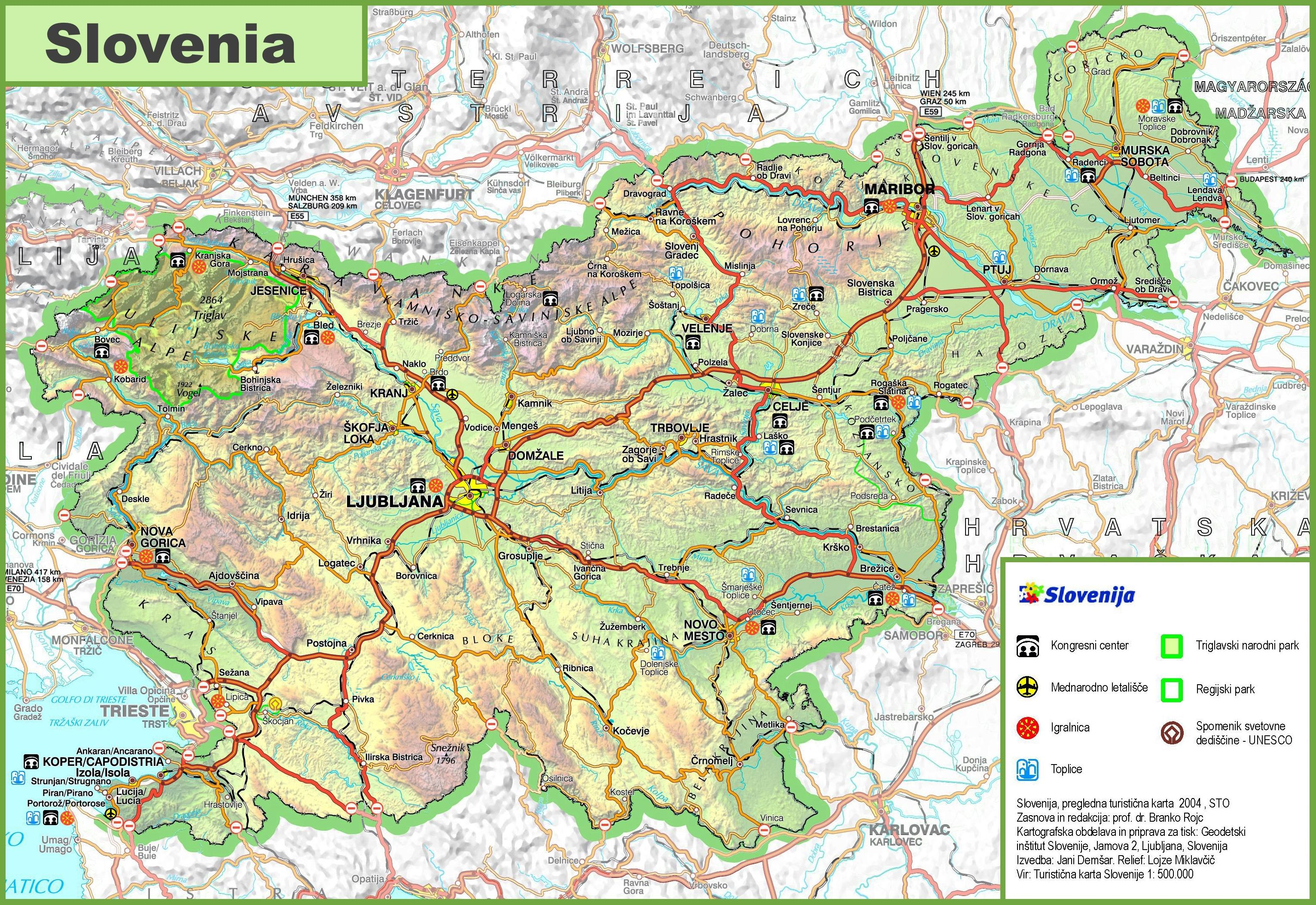 Slowenien Landkarte Karte Von Slowenien Road Europa Sud Europa